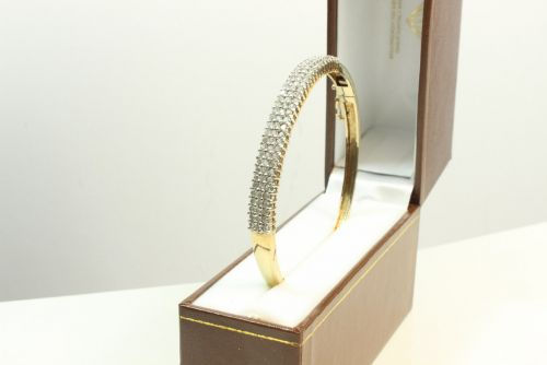 Hinged 3 Row Multi CZ Bangle