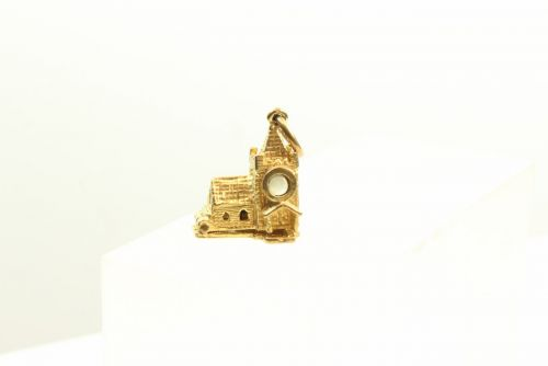 9ct Gold Solid Charm-Church