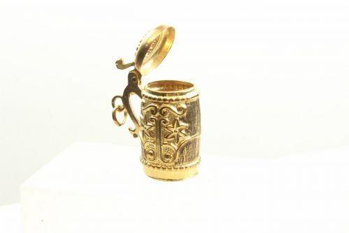 9ct Gold Solid Charm-Tankard with Lid