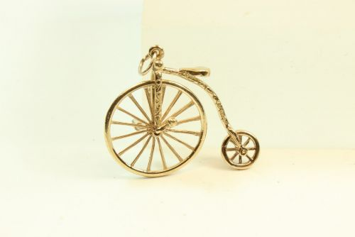 9ct Gold Solid Charm-Old Bicycle