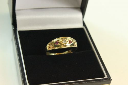 15ct Gold Diamond and Ruby 3 Stone Ring