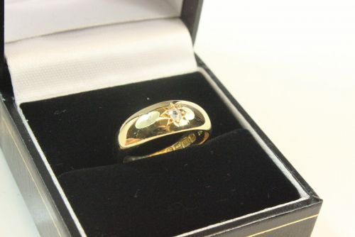 18ct Gold Diamond Set Band Ring.