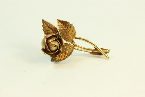 18ct Gold Rose Brooch