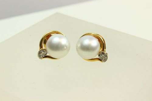 14ct Gold Pearl and Diamond Ear Rings