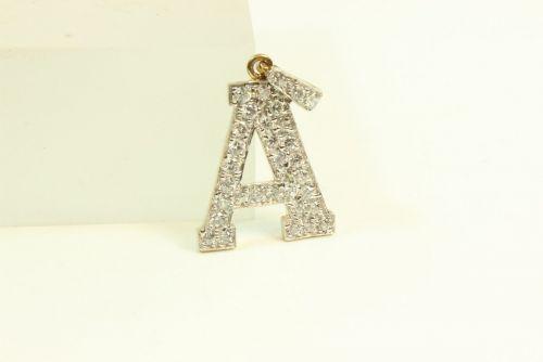 9ct Gold CZ Stone Set A Initial Pendant