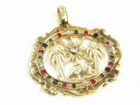 9ct Gold Multi Gem Palm Tree Pendant