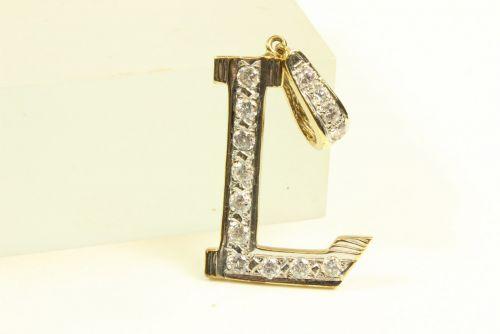 9ct Gold CZ Initial L Pendant