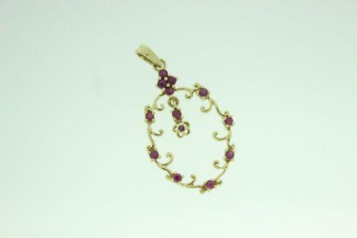 9ct Gold Ruby Stone Set Pendant.