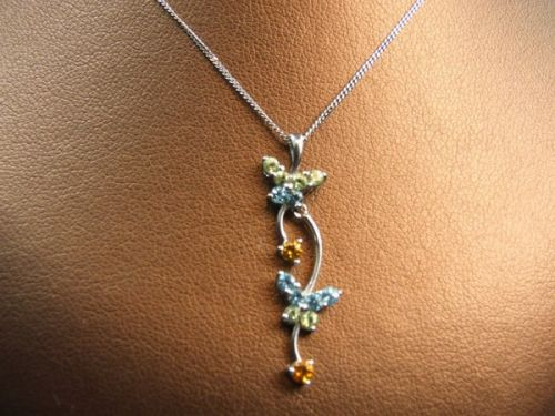 9ct White Gold Gem Set Pendant and 18inch Chain