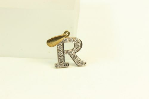 9ct Gold CZ Initial R