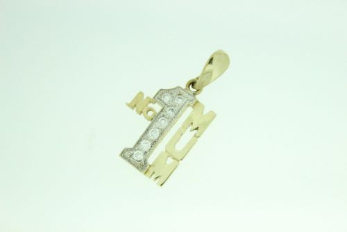 9ct Gold CZ Stone Set No1 MUM Pendant
