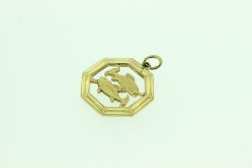 9ct Gold Zodiac Pendant-Pisces