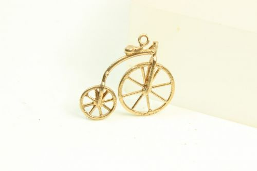 9ct Gold Solid Charm- Penny Farthing