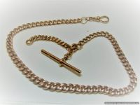 9ct Rose Gold Single Curb Link Albert Chain
