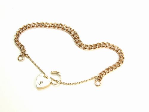 9ct Rose Gold Curb Link Charm Style Ladies Bracelet