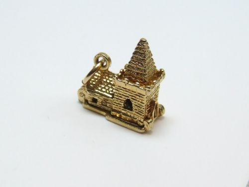 9ct gold solid 2 part charm- Church with wedding scene