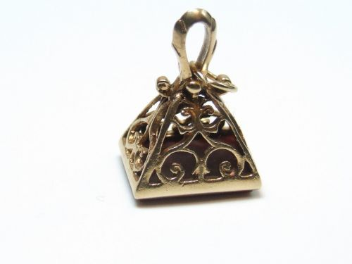 9ct Gold Stone Set Fob Charm-Cornelium