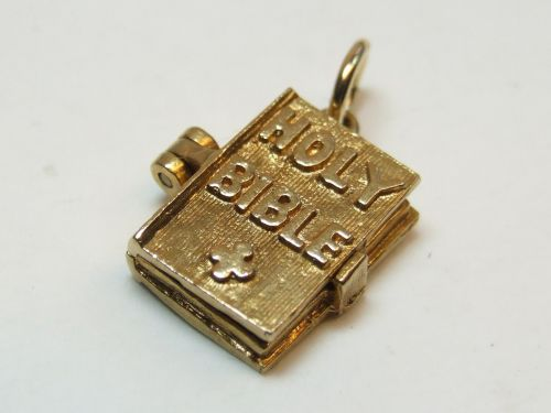 9ct Gold Solid Holy Bible Charm