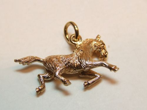 9ct Gold Solid Charm- Galloping Horse