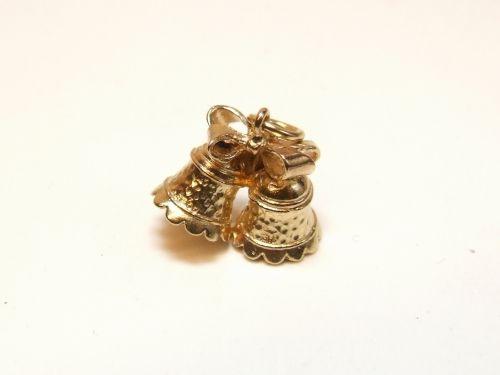 9ct Gold Solid Charm-Wedding Bells
