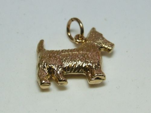 9ct Gold  Hollow Charm- Dog
