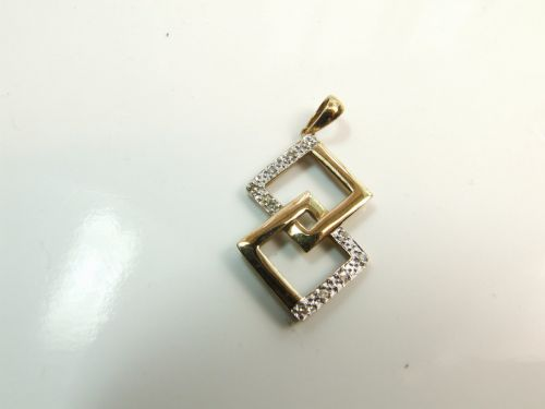 9ct Gold Diamond Set Fancy Pendant