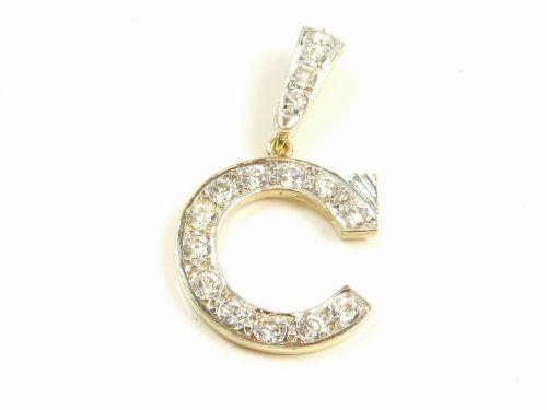 9ct Gold CZ Stone Set Initial C Pendant