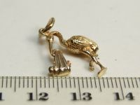 9ct Gold Solid Charm- Stork Carrying Baby