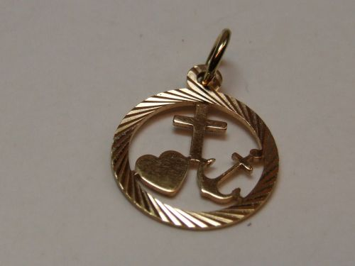 9ct Gold Faith Hope Charity Disc Charm