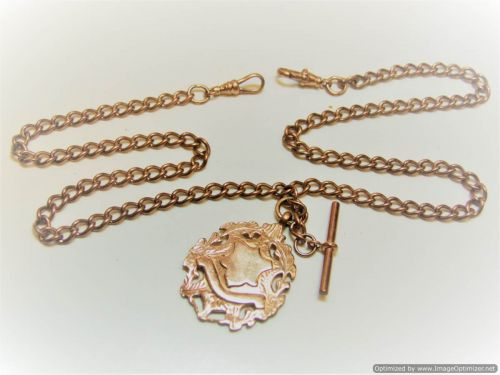 9ct Rose Gold 20inch Curb Link Double Albert Chain
