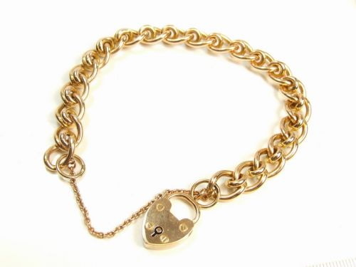 15ct Gold Curb Link Charm Style Fancy Ladies Bracelet
