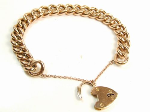 anchor link clasp hallmark hollow mm french kt catch bracelet yellow safety kavels gold with box