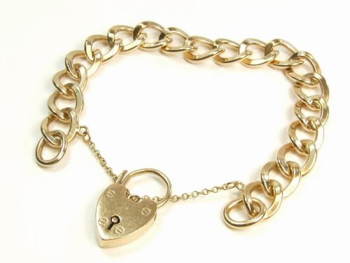 9ct Gold Heavy Curb Link Charm Style Ladies Bracelet