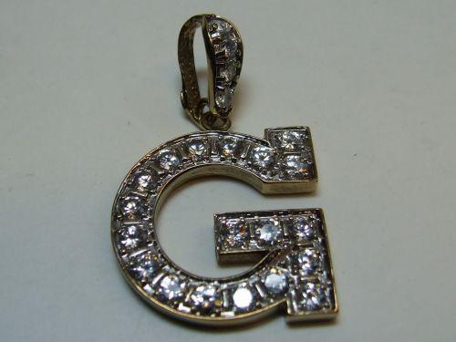 9ct Gold CZ Stone Set Initial G Pendant