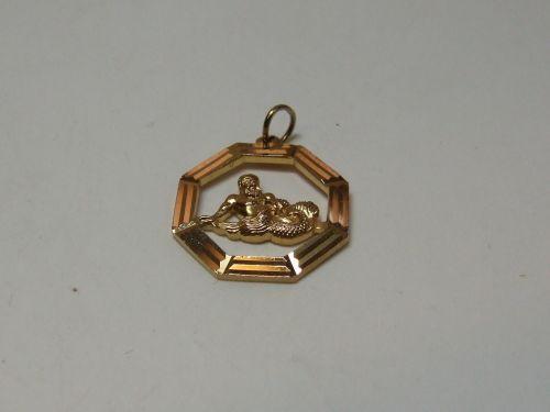 9ct Gold Zodiac Pendant-Aquarius