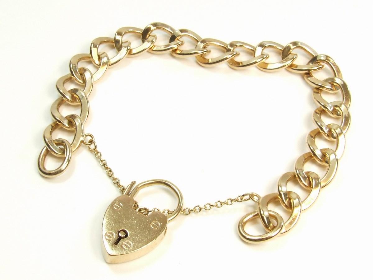 9ct Gold Heavy Curb Link Charm Style Ladies Bracelet